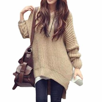 Women's Khaki Cable Knit Tunic Length Sweater Pullover with Hood