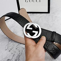 GUCCI Trending Woman Men Stylish Smooth Buckle Leather Belt I/A