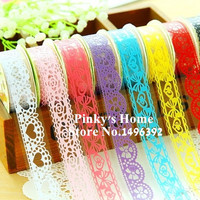2PCS/LOT Candy Colors Lace Tape Decoration Roll DIY Washi Decorative Sticky Paper Masking Tape Self Adhesive Tape Scrapbook Tape