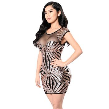 Chicloth Gold Sequin Mesh Cutout Sexy Club Dress