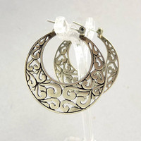 Ethnic Tribal Sterling 925 Pierced Hoop Earrings