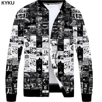KYKU Brand Band Jacket Men Character Bomber Jackets Black 3d Printed Coats Gothic Anime Clothes Slim Hip Hop Mens Clothing 2018
