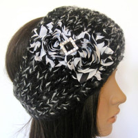 Black and White Multi Knit Ear Warmer Head Wrap Headband with Black and White Chiffon Flowers and a Black Rhinestone Accent
