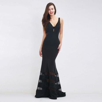 Long Black Evening Dresses Women Sexy Deep V-neck Backless Sleeveless Beading Floor Length Party Gowns