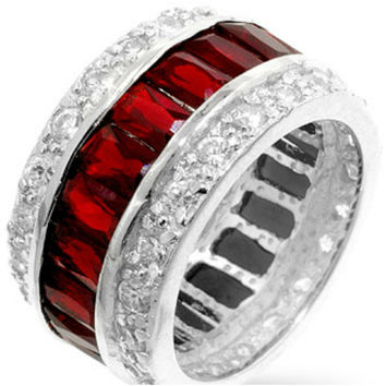 Kinsley Ruby Radiant Cut Eternity Cocktail Ring | 11ct | Cubic Zirconia