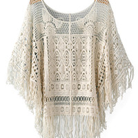 Crochet Fringed Batwing Sleeve Top