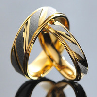 Stainless Steel Couples Rings for Men & Women Gold Wedding Bands Engagement