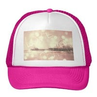 Pink Santa Monica Pier Love Peace Trucker Hat