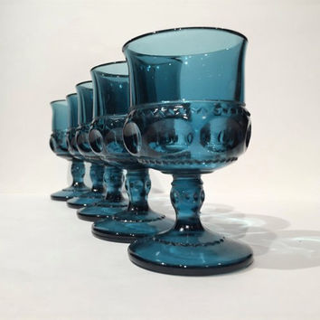 Blue Kings Crown Thumbprint Cordial Wine Glasses, Blue Wine Glasses