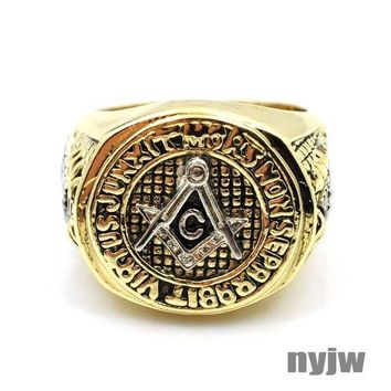 LMFONRC NEW HOT MENS YELLOW GOLD PT. FREEMASON MASONIC PYRAMID EYE OF HORUS RING KR001G