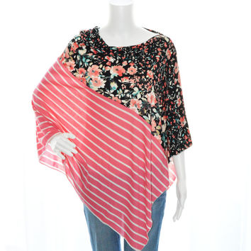 Colorblock Floral and Stripes Poncho/ Nursing Poncho / Maternity Top / One shoulder Top / Boho Poncho / Yoga Poncho top / New Mom Gift