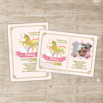 Unicorn Invitation unicorn rainbow invitation pink and gold glitter sparkle birthday invitations magical horse Party Invite first chevron