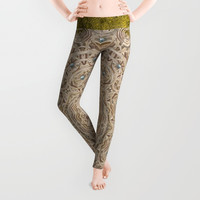 Silent in the forest of  wood pop art Leggings by Pepita Selles