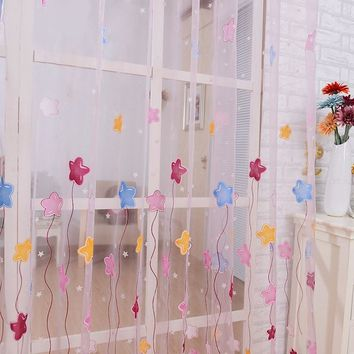 Stars Printed Sheer Room Door Curtain Beads Tassel Voile Window Scarfs Drapes Scarf Curtain