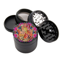 "Colorful Hamsa Hand Design - 2.25"" Premium Black Herb Grinder - Custom Designed"