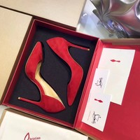 Christian Louboutin Cl Red Suede Heel