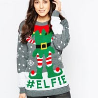 Club L Elfie Christmas Jumper at asos.com