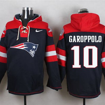 New England Patriots #10 Jimmy Garoppolo Navy Blue Pullover Hoodie