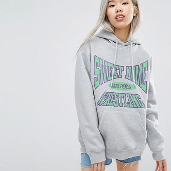 STYLENANDA Oversized Sweet Home Wrestling Hoodie at asos.com