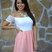 Oh That's Cute Dress: Coral/White | Hope's