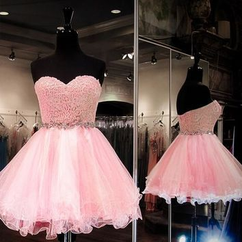 Organza Lace Homecoming Dress, Sweetheart Homecoming Dresses Free Fast Shipping