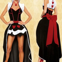 Princess Alice poker queen dress cosplay Halloween party dress the queen of hearts (Size: M) = 1946583684