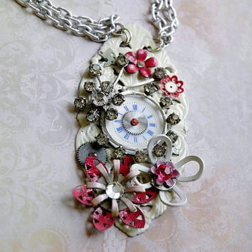 Steampunk Flower Necklace Cosmos White and Pink by bionicunicorn
