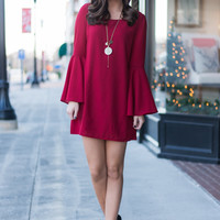 So Flare Dress, Burgundy