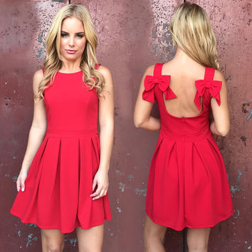 Double Bow Red Skater Dress