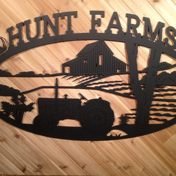 Metal Sign Large with Tractor and Barn By PrecisionCut