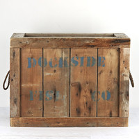 Wood Crate, Dockside Fish Co. Wood Crate, Wooden Crate, Industrial Decor