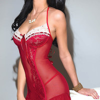 Red Ruffled Lace Bustier Chemise