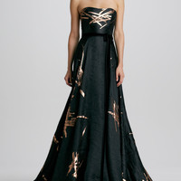 Carolina Herrera Strapless Twig-Jacquard Ball Gown