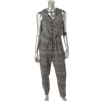 Ivy & Blu Womens Woven Button Front Jumpsuit