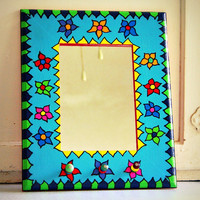 colorful painted framed mirror jewelry organizer