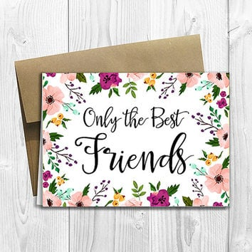 PRINTED CUSTOM Only the Best Friends Get Promoted to Auntie Pregnancy Announcement 5x7 Greeting Card - Watercolor Flowers
