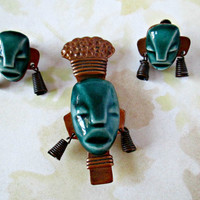 Vintage ELZAC Tribal Figures Earrings Brooch Set Blue-green Ceramic Face Masks  on Copper Patina on Copper Screw Backs 1940's