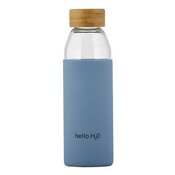 Hello H2O Glass Water Bottle w/ Bamboo Lid