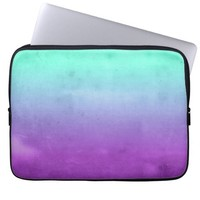 Purple Turquoise Mint Teal Fade Ombre Gradient Laptop Computer Sleeve