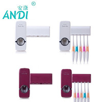ANDI Toothpaste Dispenser 5 Toothbrush Holder Set Wall Mount Stand Toothbrush Family Sets Fashion Bathroom
