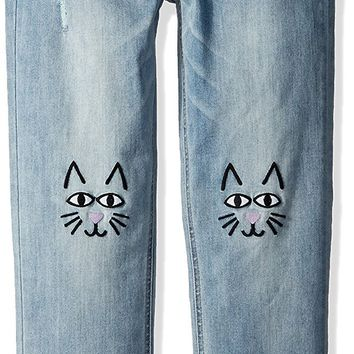 Celebrity Pink Big Girls' Girlfriend Jean with Cat Embroidery At Knee Size:14
