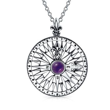 Large Compass Rose Amethyst Gemstone Pendant Necklace Sterling Silver