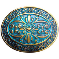 Water Lilly Belt Buckle - AB & Turqoise