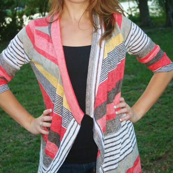 Coral/Tan/Ivory Striped Light Weight Cardigan