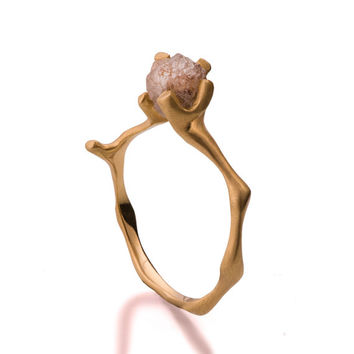 Twig Engagement Ring, 18K Gold and Rough Diamond engagement ring, Unique Engagement ring, rough diamond ring,raw diamond, Conflict free, 4
