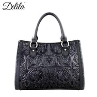 Montana West LEA-6016 Delila 100% Genuine Leather Tooled Handbag