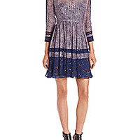 Rebecca Taylor - Static Print Silk-Blend Dress  - Saks Fifth Avenue Mobile
