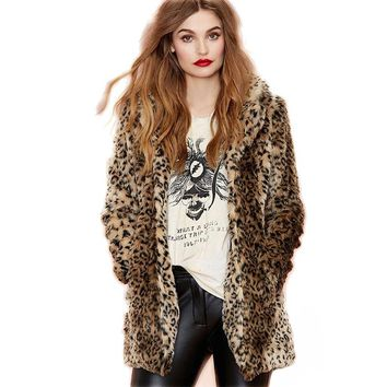 HONGZUO 2017 Winter New arrival Women Leopard Fur Coat Long-sleeve Turn-down Collar Faux Fur Coats Jacket Casaco De Pele PC265