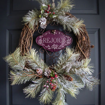 Rustic Christmas Wreaths - REJOICE - Outdoor Holiday Wreath - Wreaths - Holiday Decorations - Wreaths for Door -  Outdoor Wreaths