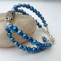 Blue Freshwater Pearl Vintage Style Bracelet, Gift idea for Her, Wedding Jewelry